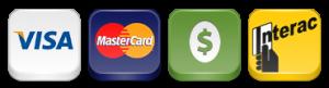 Nous acceptons Argent comptant, Interac, Visa et Master Card